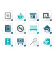 stylized hotel and motel amenity icons vector image