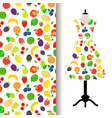 women dress fabric with fruits pattern vector image
