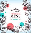 Restaurant sea food menu Hand drawn sketch vector image