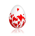Easter egg with red hearts for your design vector image