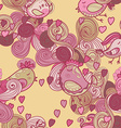 Valentine pattern with hearts birds waves vector image
