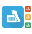 Barcode label with reader icon set vector image