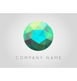 Trendy Crystal Triangulated Gem Logo Element vector image