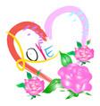 pink rose flower for valentine day vector image