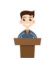 Public speaking flat design Orator speaking vector image