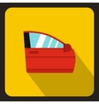 Red car door icon flat style vector image