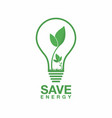 ecology logo energy saving lamp symbol icon eco vector image