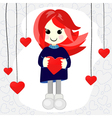 Cute Valentine girl with red hair vector image