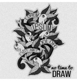 Detailed doodles on paper textureBlack and white vector image