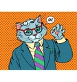 Cat businessman OK gesture vector image vector image