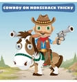 Cowboy rider on horseback tricky on a Wild West vector image