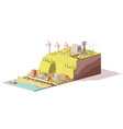 low poly wind turbines power plant vector image