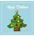 merry christmas tree pine decoration balls star vector image