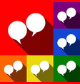 speech bubble sign set of icons with flat vector image