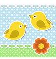 Romantic card with birds and flower vector