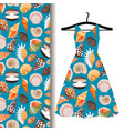 women dress fabric with sea shells vector image vector image