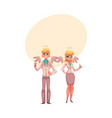 man and woman dressed as two angels in business vector image