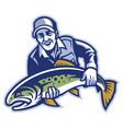 fisherman hold the big trout fish vector image