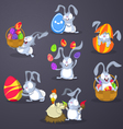 Easter rabbits with eggs vector image