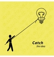The man threw the loop on the light bulb Person vector image