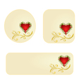 Banner and buttons Valentines day heart jasmine vector image