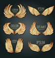 golden wing logo set angels and bird elite vector image
