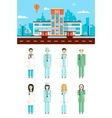 Hospital with doctors vector image