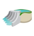 Hydroelectric power station cartoon icon vector image