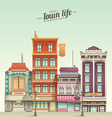 Small Town Street View with retro colors vector image