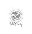 BBQ Party Badge Meat grill label isolated on white vector image