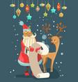 santa reading a long christmas wish list with deer vector image vector image