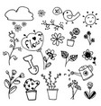 Set of beauty flowers doodle hand drawn on vector image