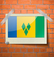 Flags Saint Vincent Grenadines scotch taped to a vector image