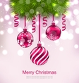 Christmas Invitation with Fir Twigs and Glass vector image