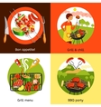 Barbecue Party 4 Flat Icons Square vector image