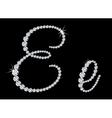Diamond alphabetic letters of E vector image