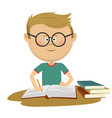 little nerd boy with glasses doing his homework vector image