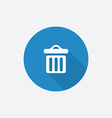 trash bin Flat Blue Simple Icon with long shadow vector image