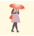 A girl walking in the rain wit flat style vector image