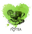 Tea background with splash watercolor heart and vector image