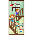 Children and stairs vector image vector image