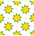 Pattern of yellow bright flowers with green leaves vector image