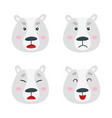 set with polar bear emotion faces cute vector image