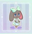 sweet rabbit little cute kawaii anime cartoon vector image