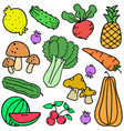 vegetable colorful doodle set vector image