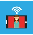 woman smartphone internet wifi free icon vector image
