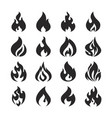 fire flame and bonfire silhouette icons set vector image
