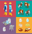 isometric milk industry production vector image