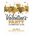 golden valentines day invitation flyer the vector image
