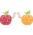 apples and funny worms vector image vector image